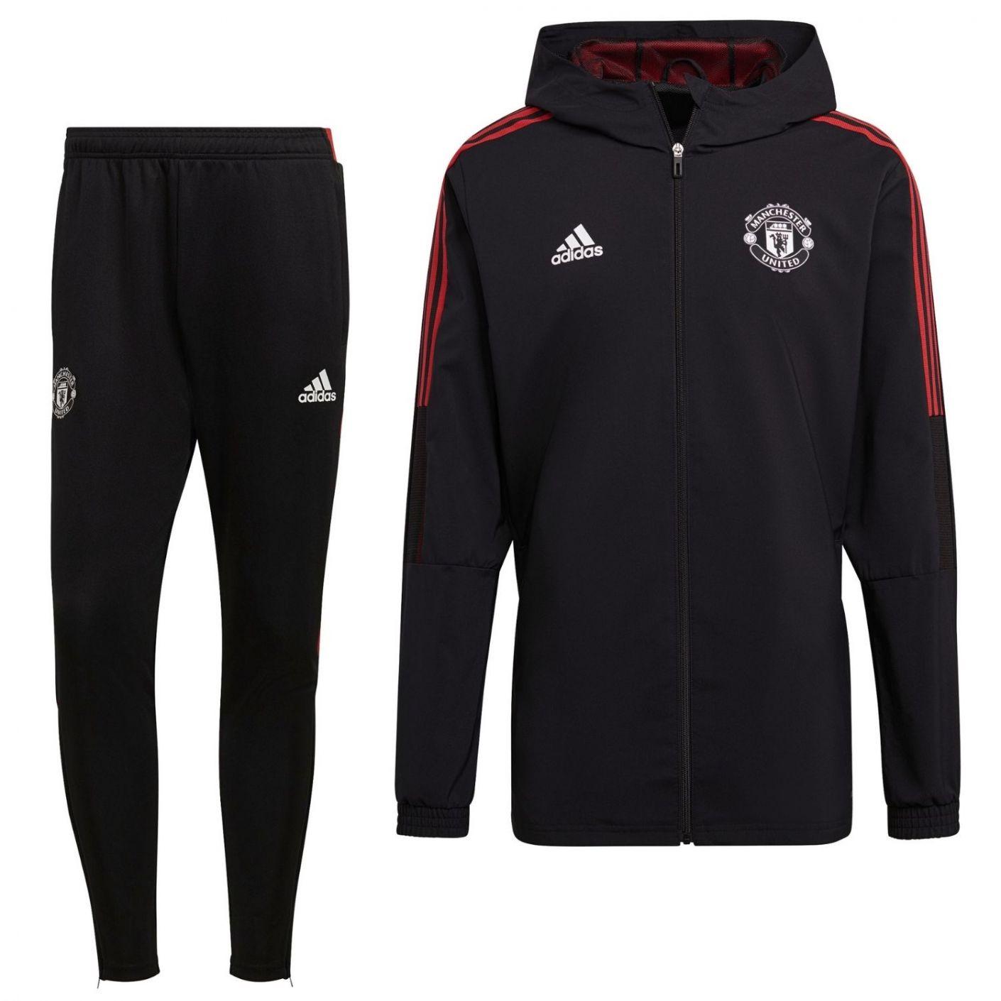 adidas Manchester United Presentatie Trainingspak 2021-2022 Zwart Rood