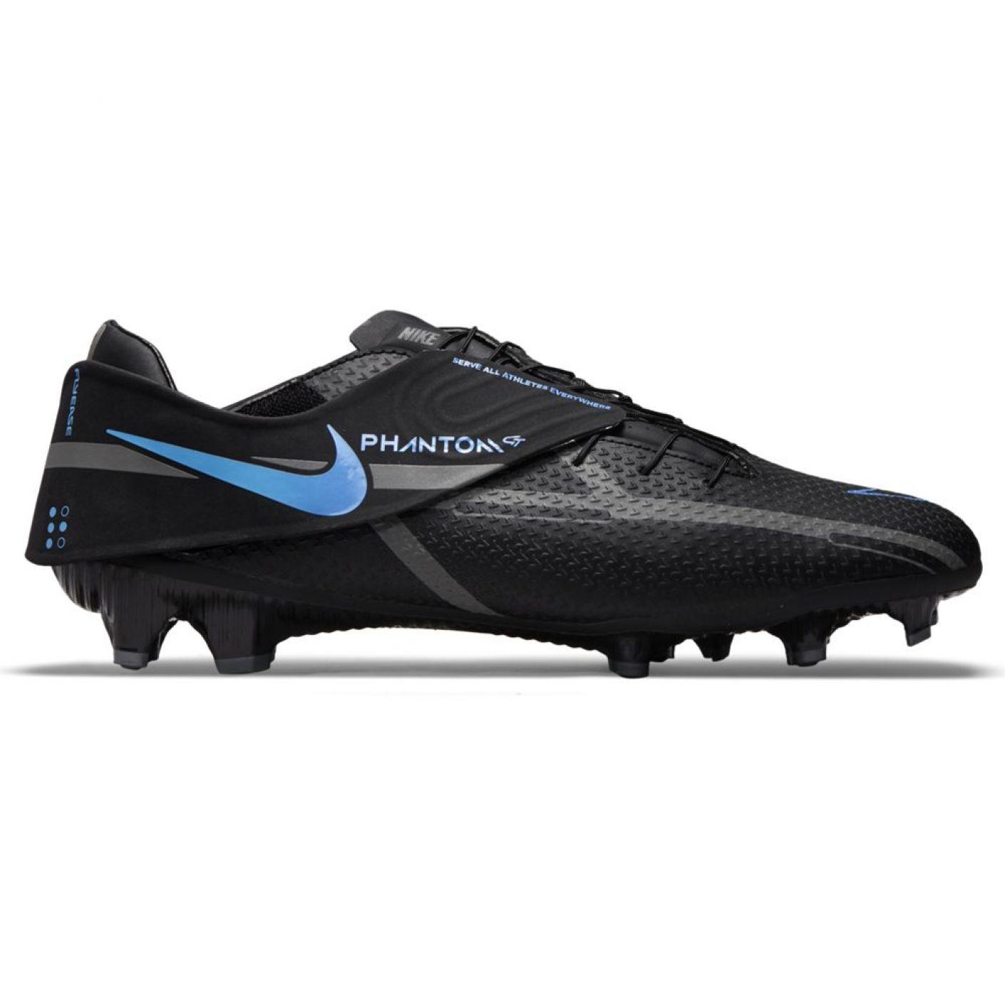 Nike Phantom GT 2 Academy FlyEase Gras / Kunstgras Voetbalschoenen (MG) Zwart Donkergrijs