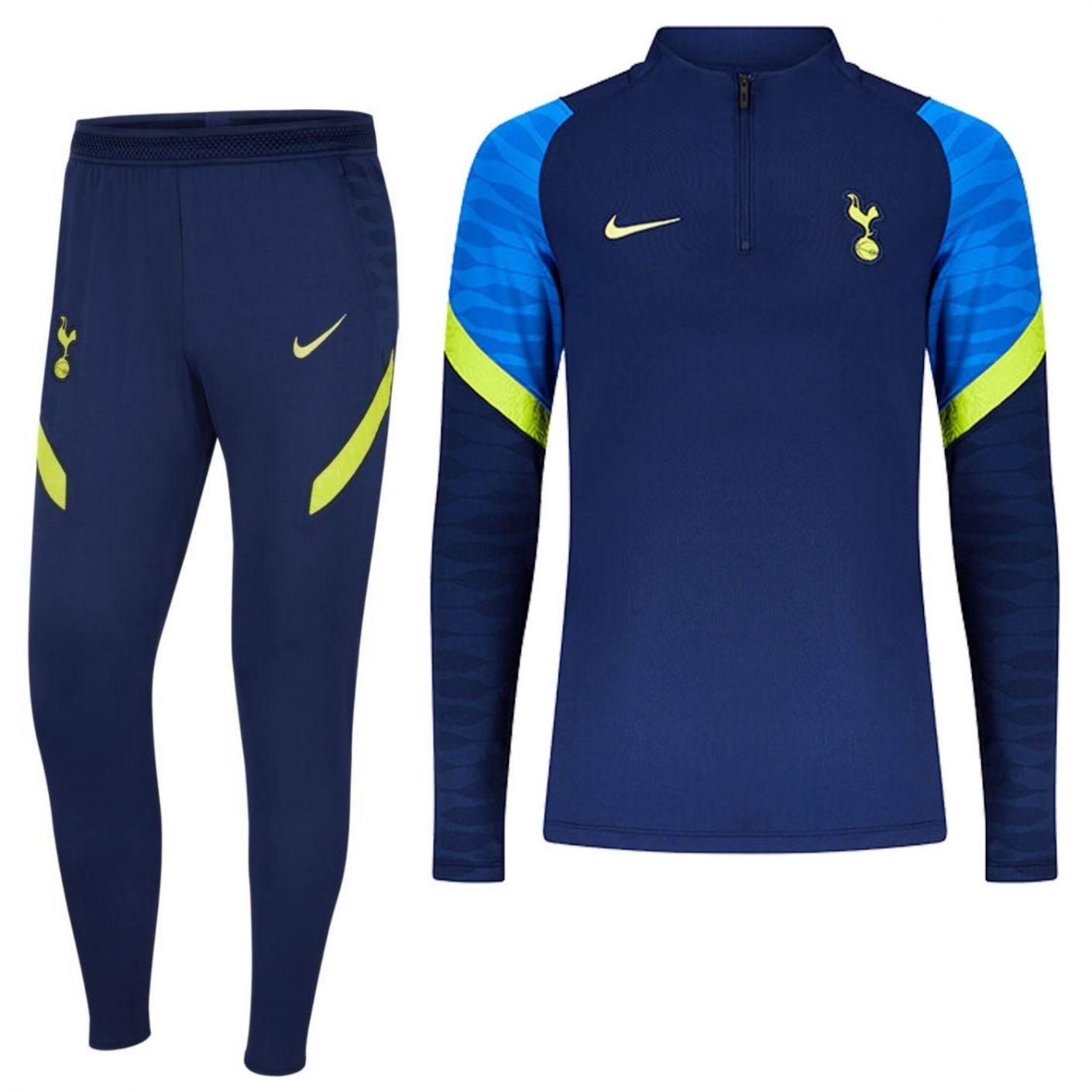 Nike Tottenham Hotspur Strike Drill Trainingspak 2021-2022 Kids Donkerblauw Geel