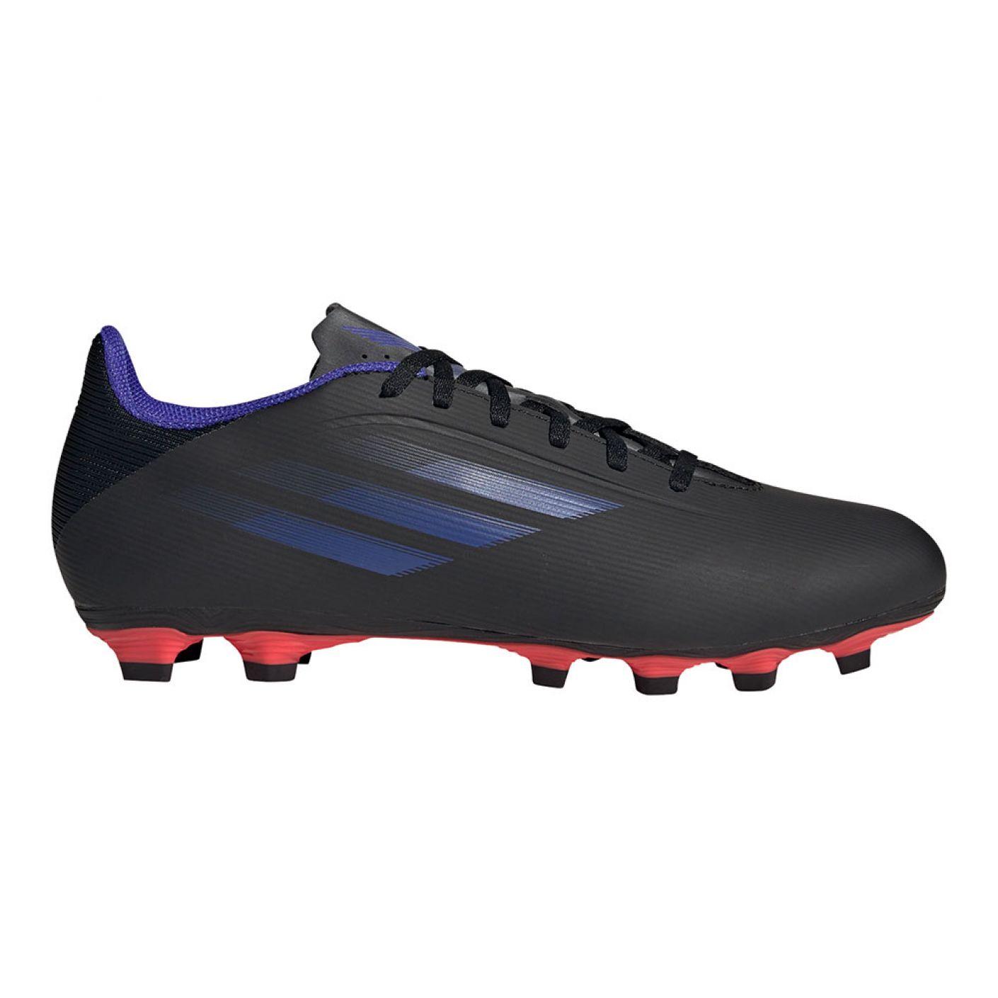 adidas X Speedflow.4 Gras / Kunstgras Voetbalschoenen (FxG) Zwart Blauw Geel