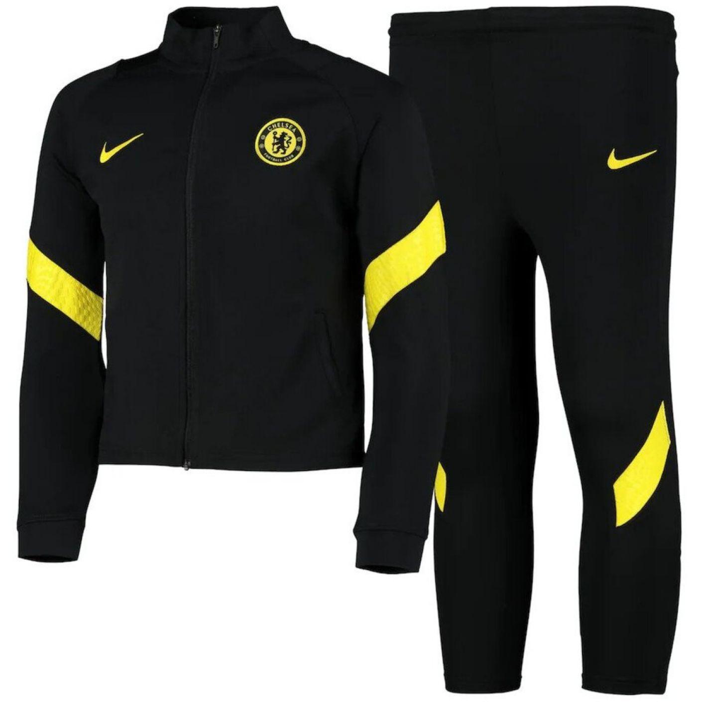 Nike Chelsea Strike Trainingspak 2021-2022 Peuters Zwart Geel