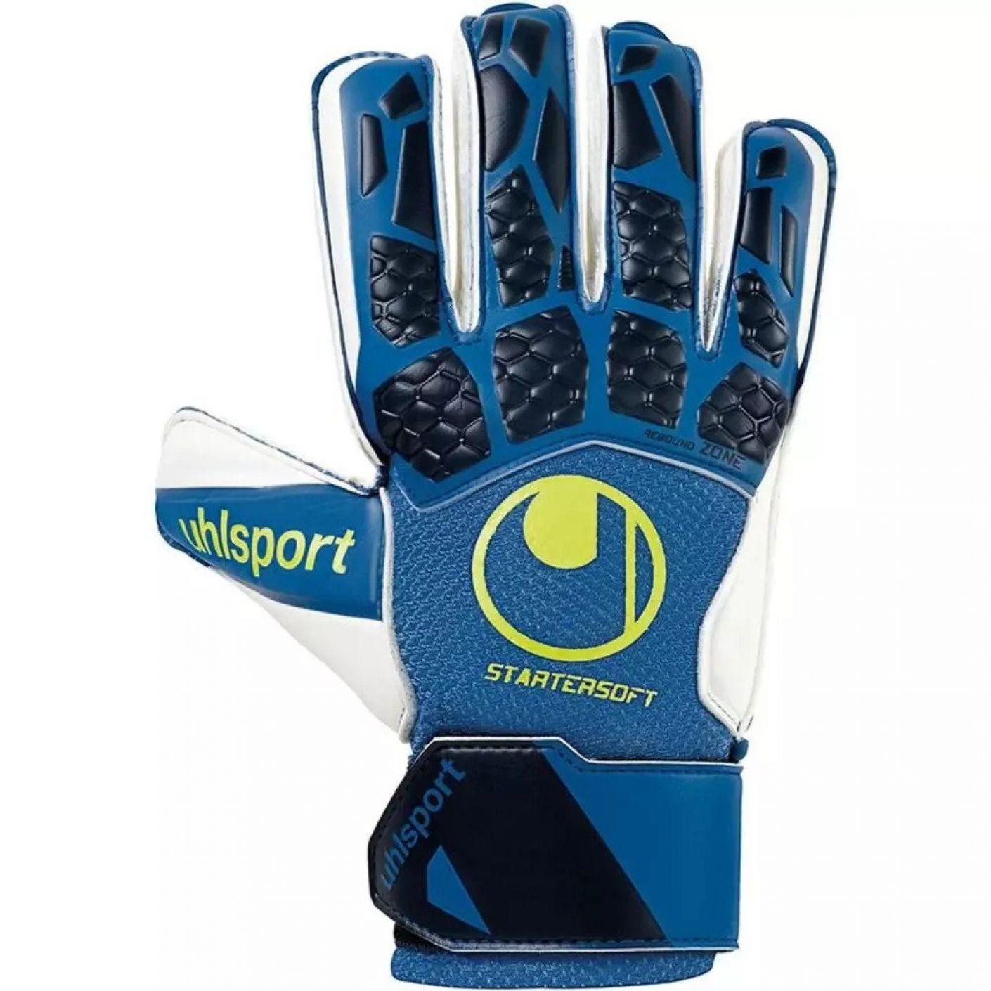 Uhlsport HYPERACT STARTER SOFT Keepershandschoenen Blauw Wit Geel