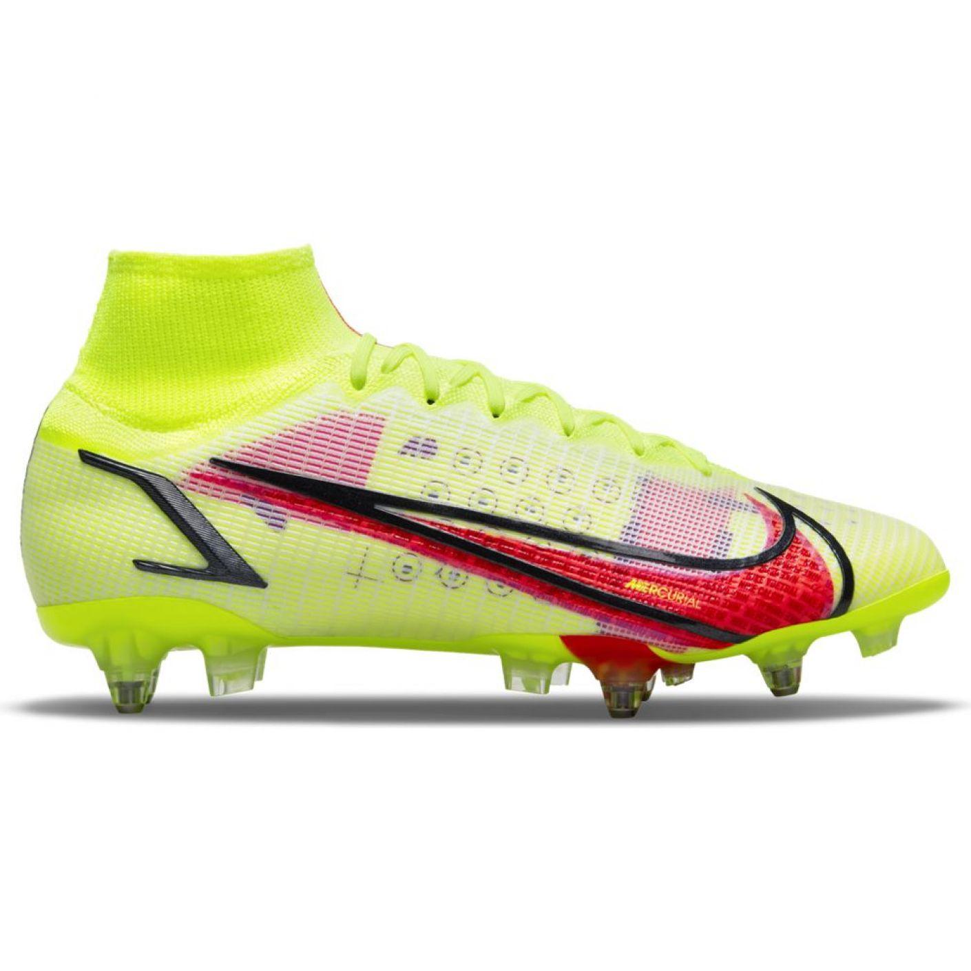 Nike Mercurial Superfly 8 Elite Ijzeren-Nop Voetbalschoenen (SG) Anti-Clog Geel Rood Zwart