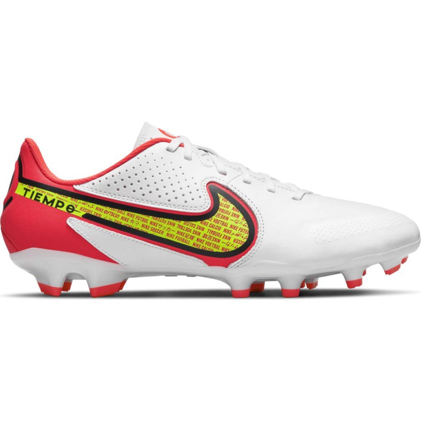 Nike Tiempo Legend 9 Academy Gras / Kunstgras Voetbalschoenen (MG) Wit Geel Rood