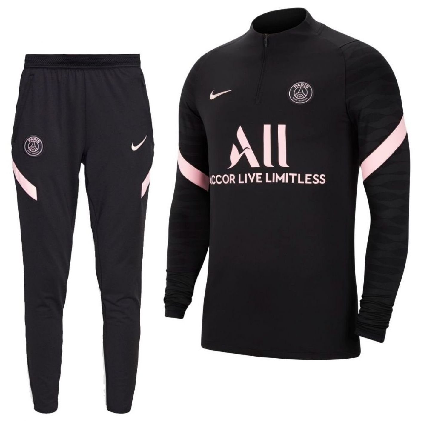 Nike Paris Saint Germain Strike Drill Trainingspak 2021-2022 Dames Zwart Roze