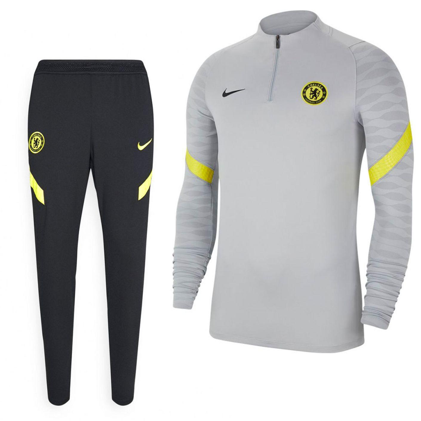 Nike Chelsea Strike Drill Trainingspak 2021-2022 Grijs Zwart Geel