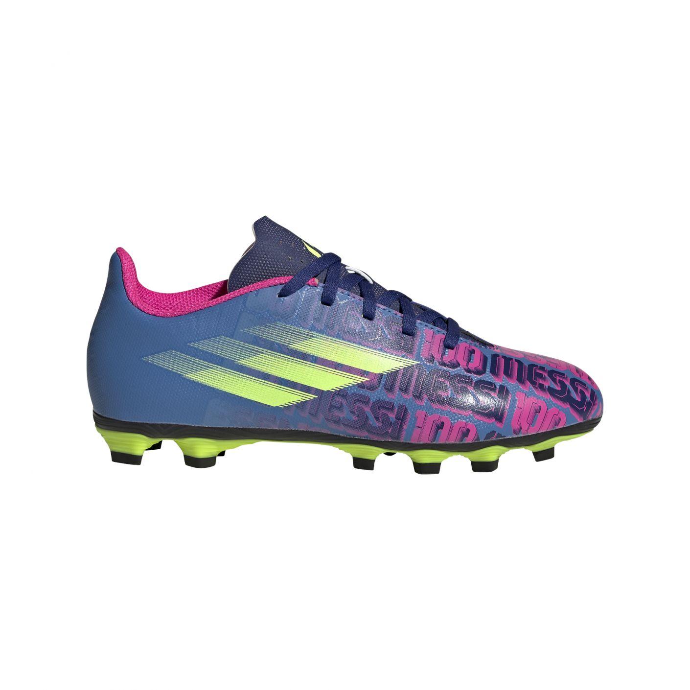 adidas X Speedflow Messi.4 Gras / Kunstgras Voetbalschoenen (FxG) Kids Blauw Roze Geel