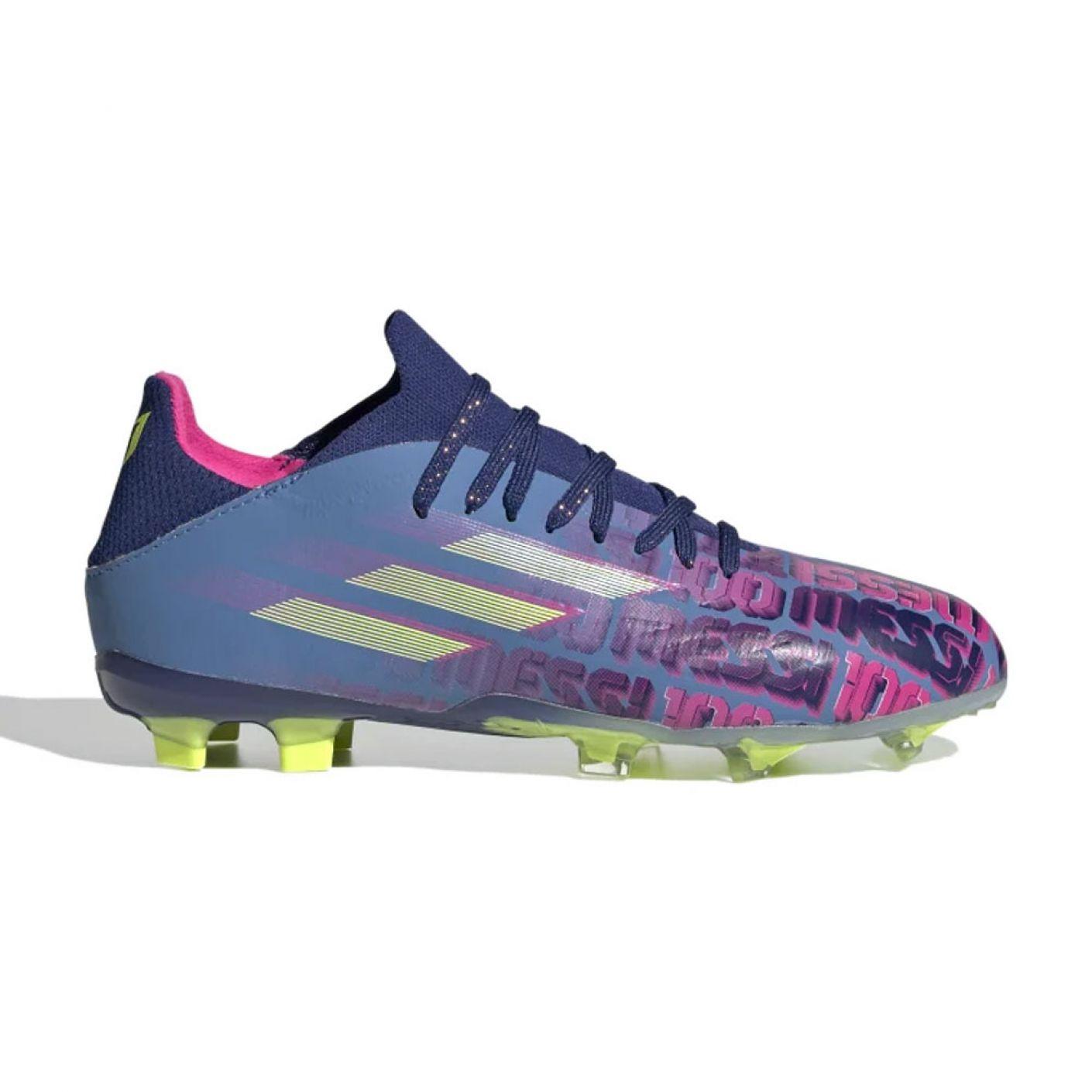 adidas X Speedflow Messi.1 Gras Voetbalschoenen (FG) Kids Blauw Roze Geel