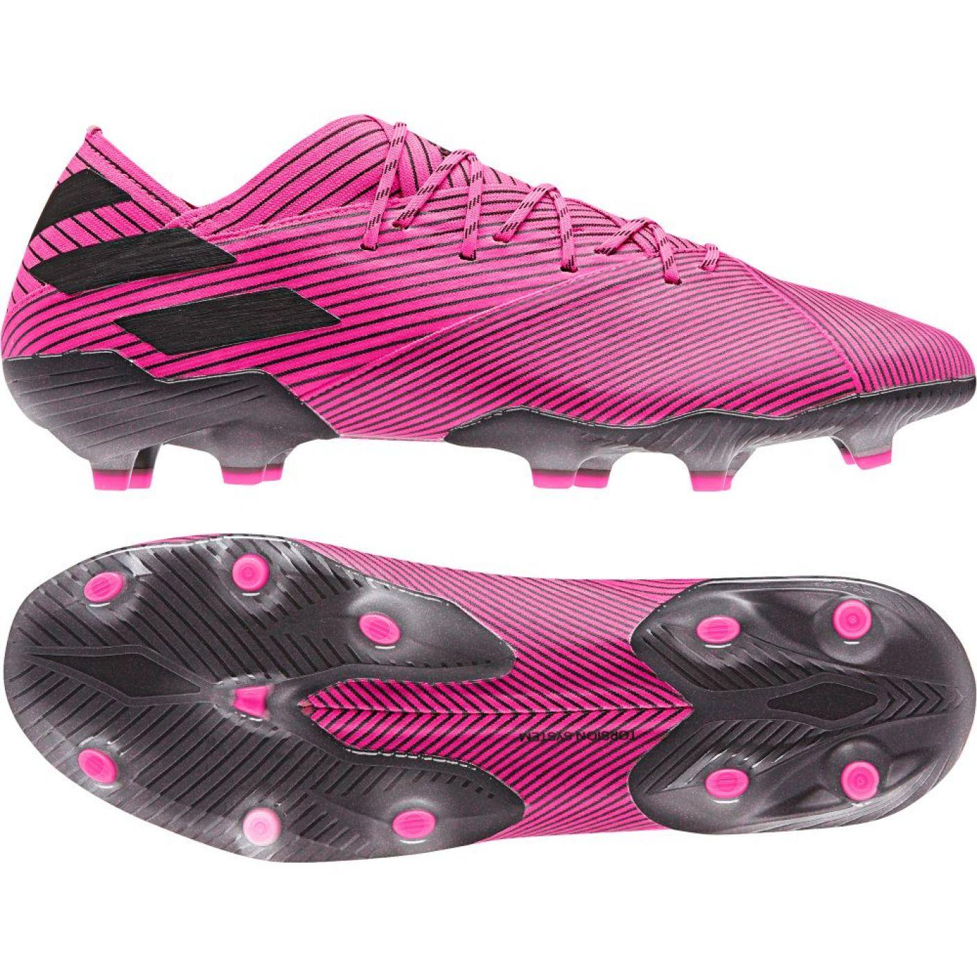 adidas NEMEZIZ 19.1 Gras Voetbalschoenen (FG) Felroze Zwart