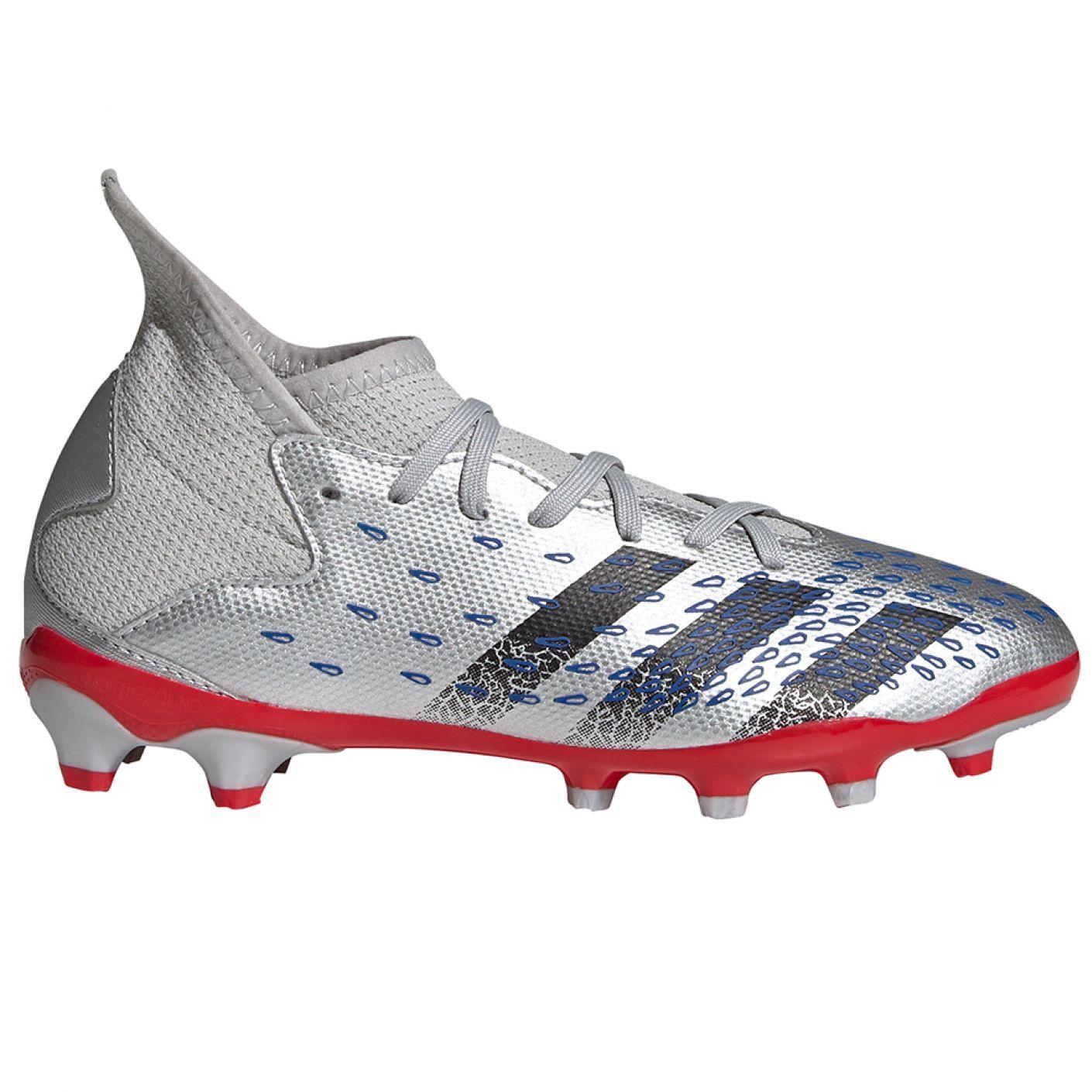 adidas Predator Freak.3 Gras / Kunstgras Voetbalschoenen (MG) Kids Zilver Zwart Blauw
