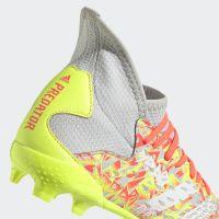 adidas Predator Freak.3 Gras Voetbalschoenen (FG) Kids Grijs Wit Geel