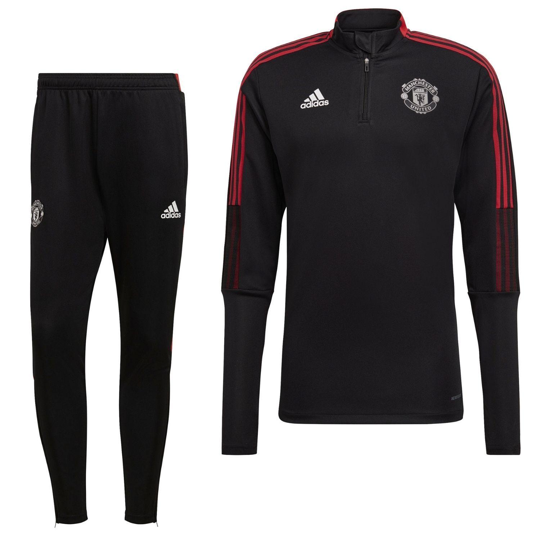 adidas Manchester United Drill Trainingspak 2021-2022 Zwart Rood