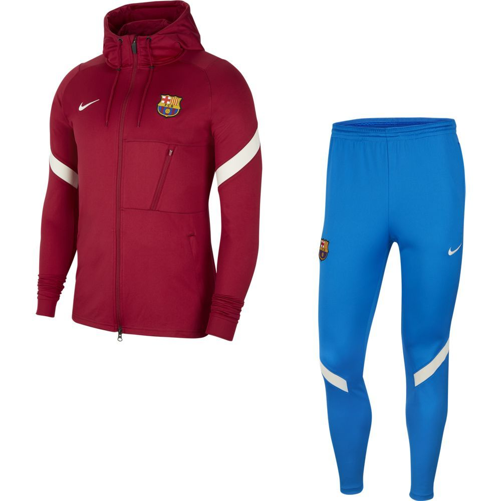 Nike FC Barcelona Strike Hooded Trainingspak 2021-2022 Rood Blauw Lichtgrijs