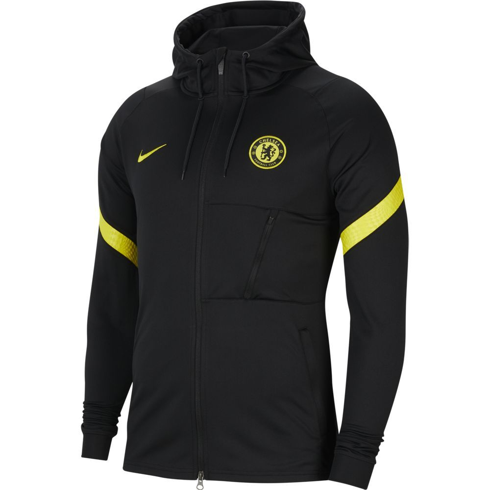 Nike Chelsea Strike Hooded Trainingsjack 2021-2022 Zwart Geel