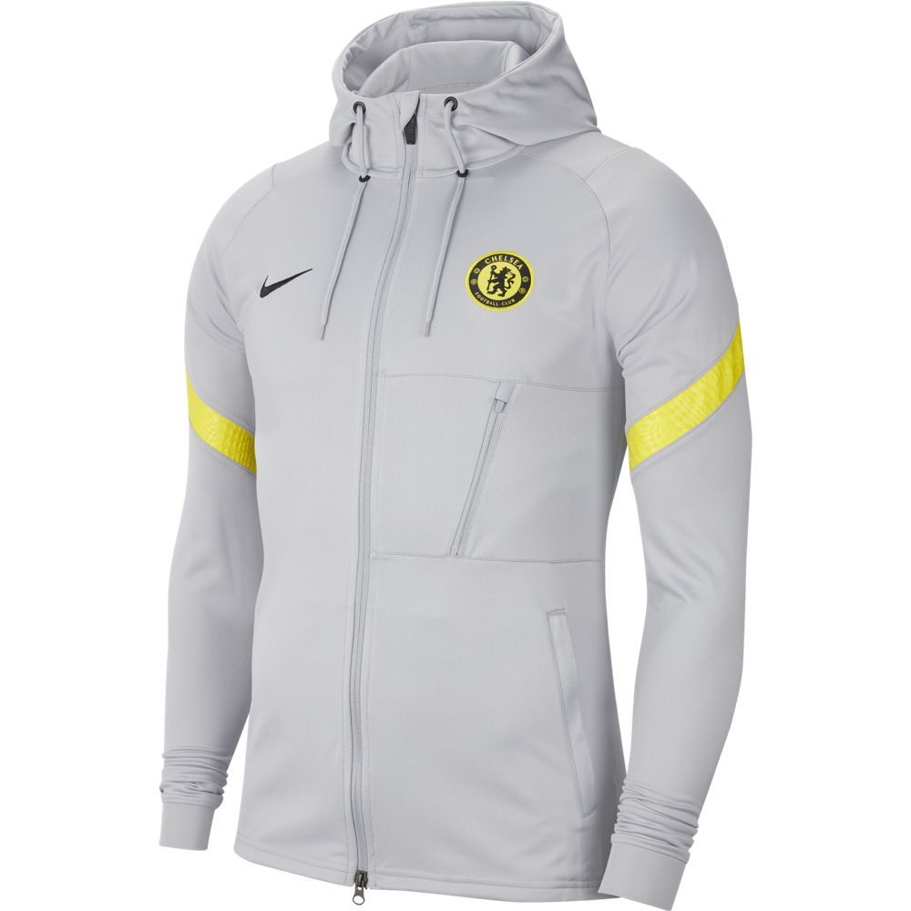 Nike Chelsea Strike Hooded Trainingsjack 2021-2022 Grijs Geel