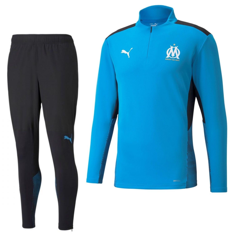 PUMA Olympique Marseille 1/4 Zip Trainingspak 2021-2022 Blauw Zwart
