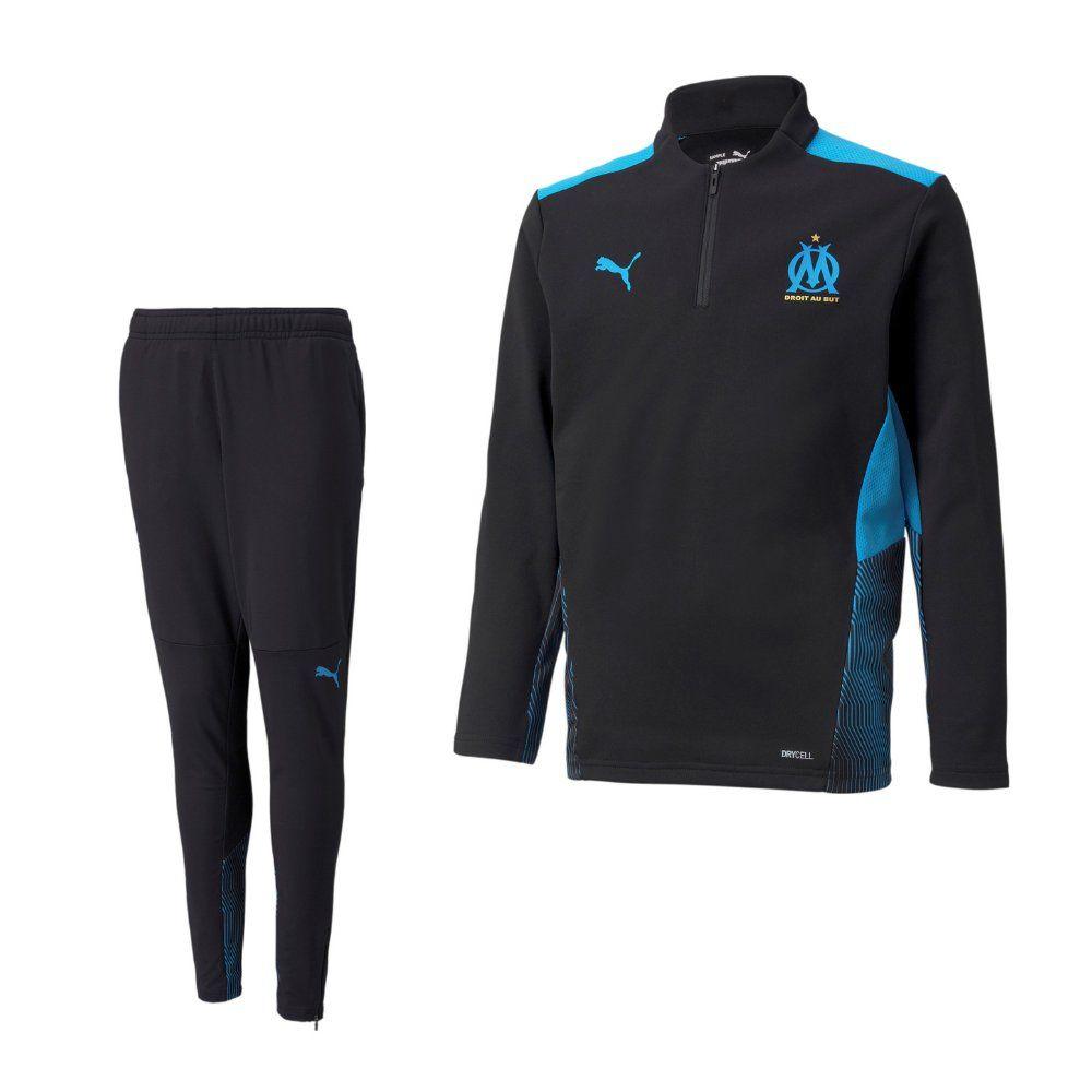 PUMA Olympique Marseille 1/4 Zip Trainingspak 2021-2022 Kids Zwart Blauw