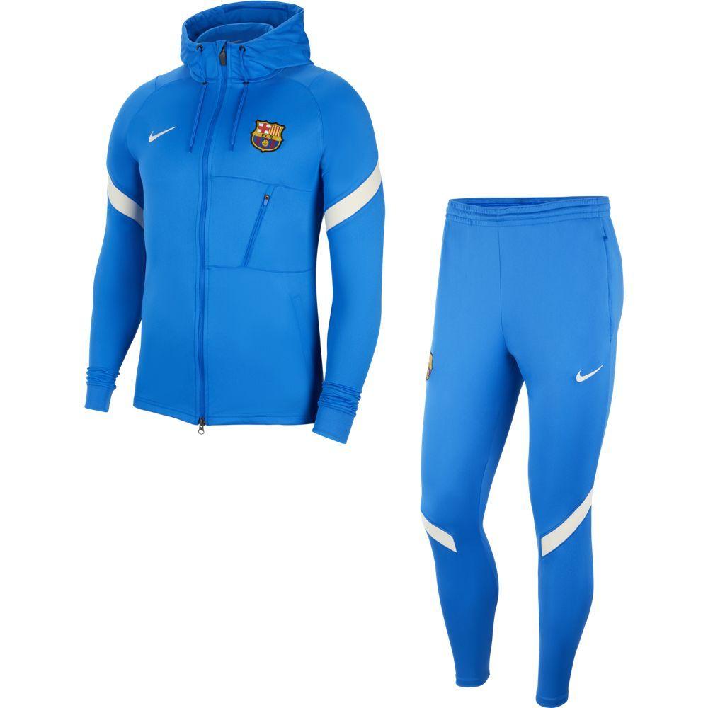 Nike FC Barcelona Strike Hooded Trainingspak 2021-2022 Blauw Lichtgrijs