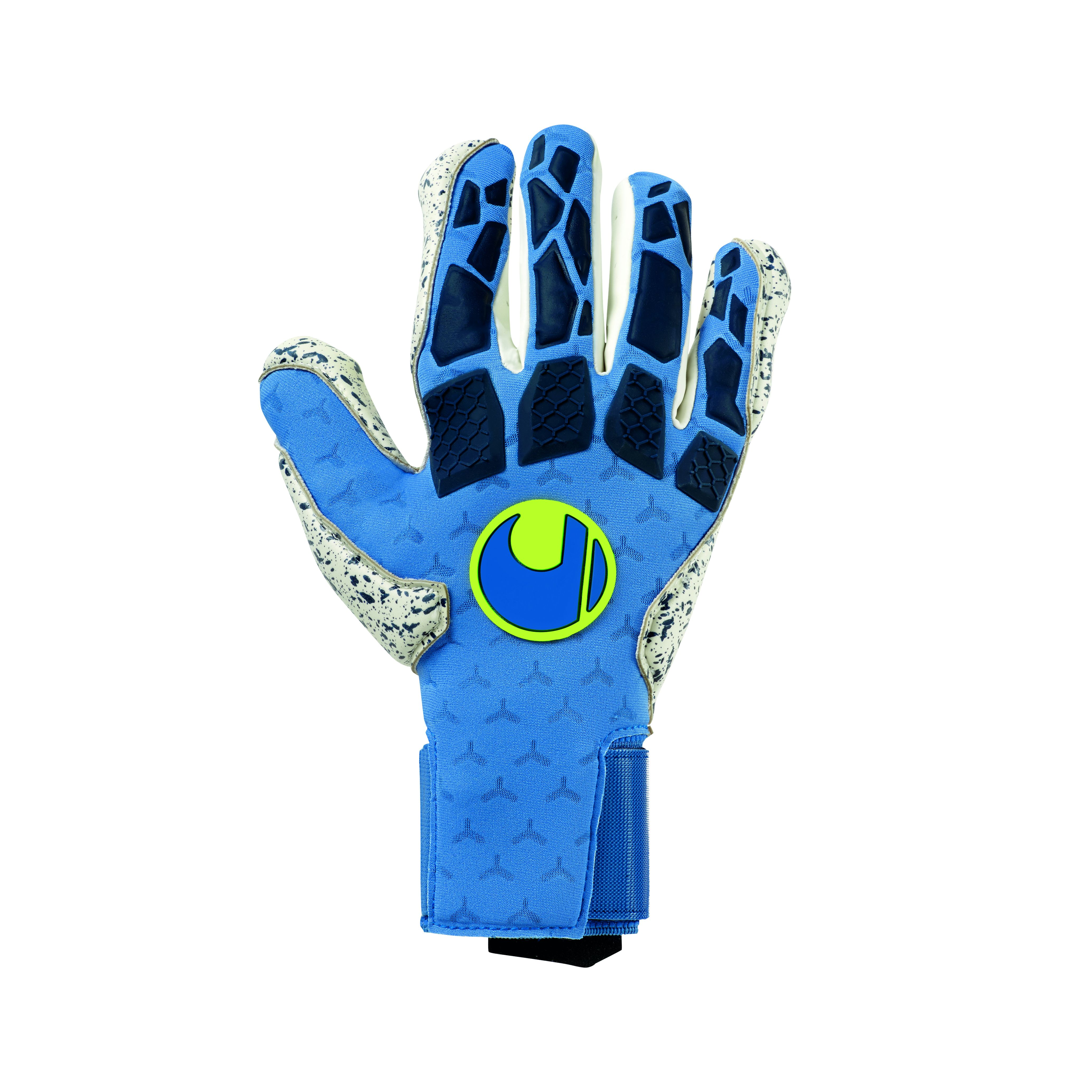 Uhlsport HYPERACT SUPERGRIP+ HN Keepershandschoenen Blauw Wit Geel