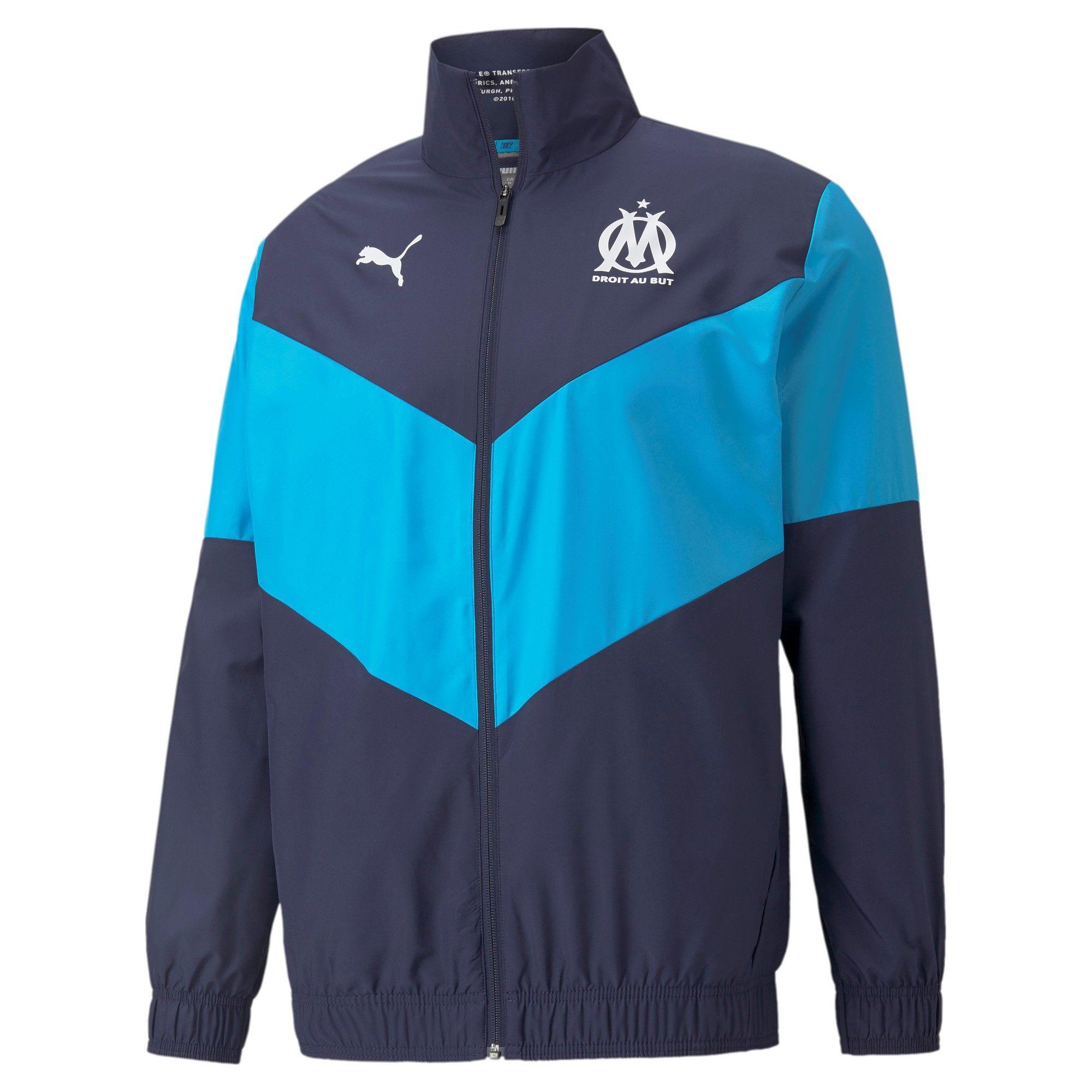 PUMA Olympique Marseille Pre Match Trainingsjack 2021-2022 Donkerblauw