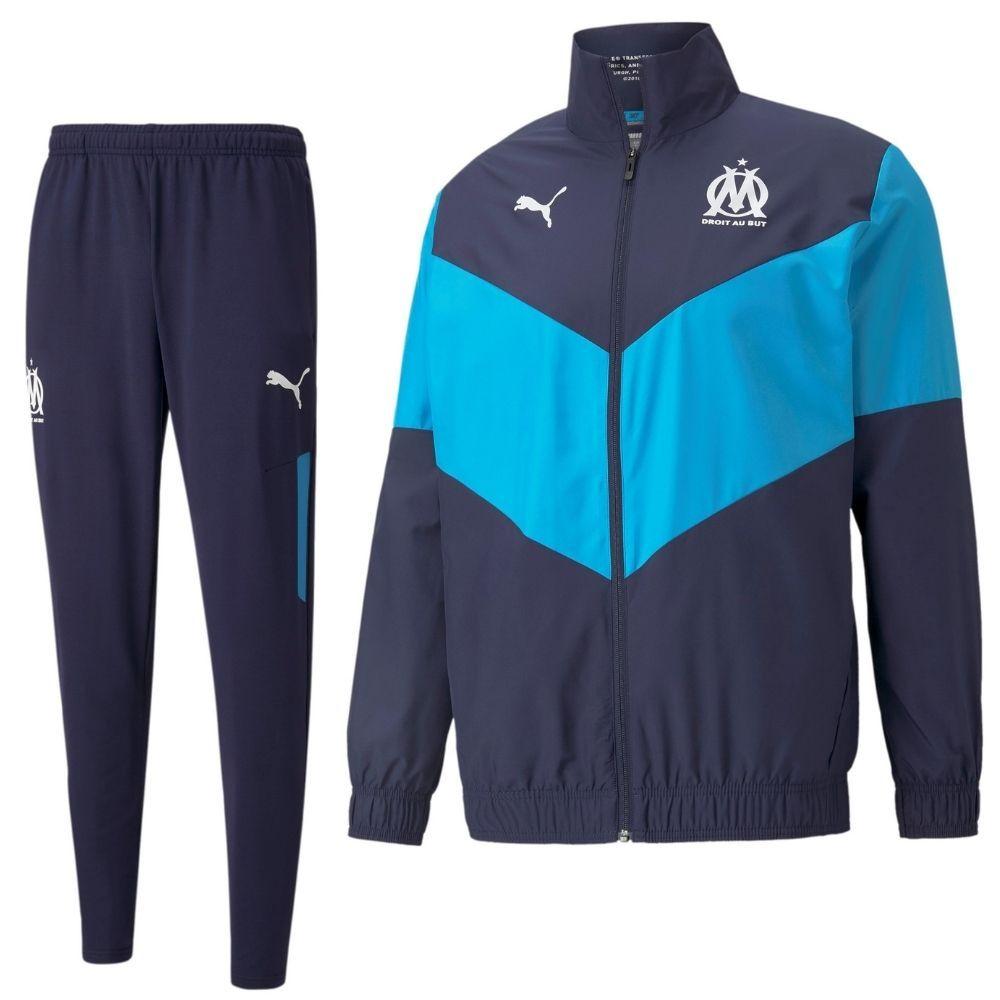 PUMA Olympique Marseille Pre Match Trainingspak 2021-2022 Donkerblauw