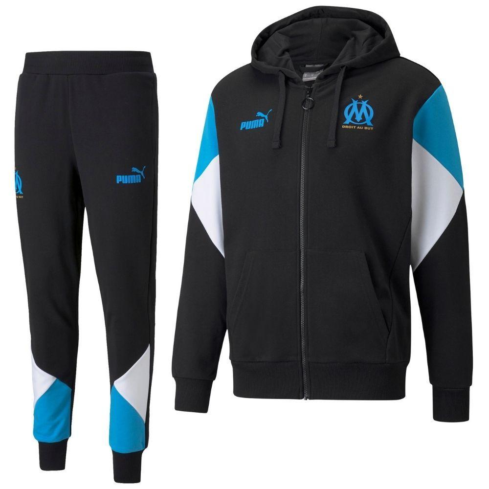 PUMA Olympique Marseille FtblCulture Trainingspak 2021-2022 Zwart Blauw