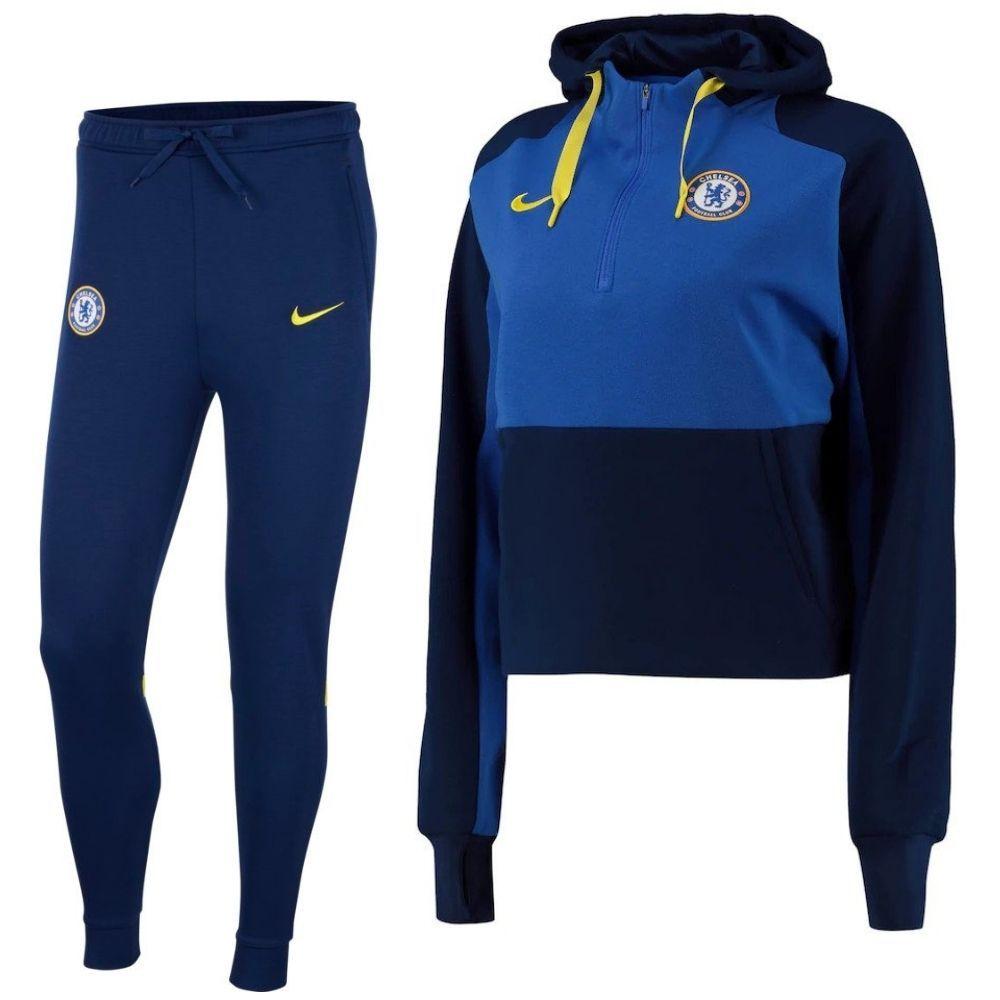 Nike Chelsea Travel Fleece Trainingspak 2021-2022 Dames Blauw Geel