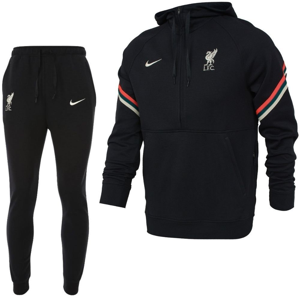 Nike Liverpool Travel Fleece Trainingspak 2021-2022 Zwart Rood