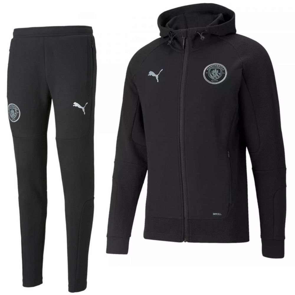 PUMA Manchester City Casuals Sweat Trainingspak 2021-2022 Kids Zwart