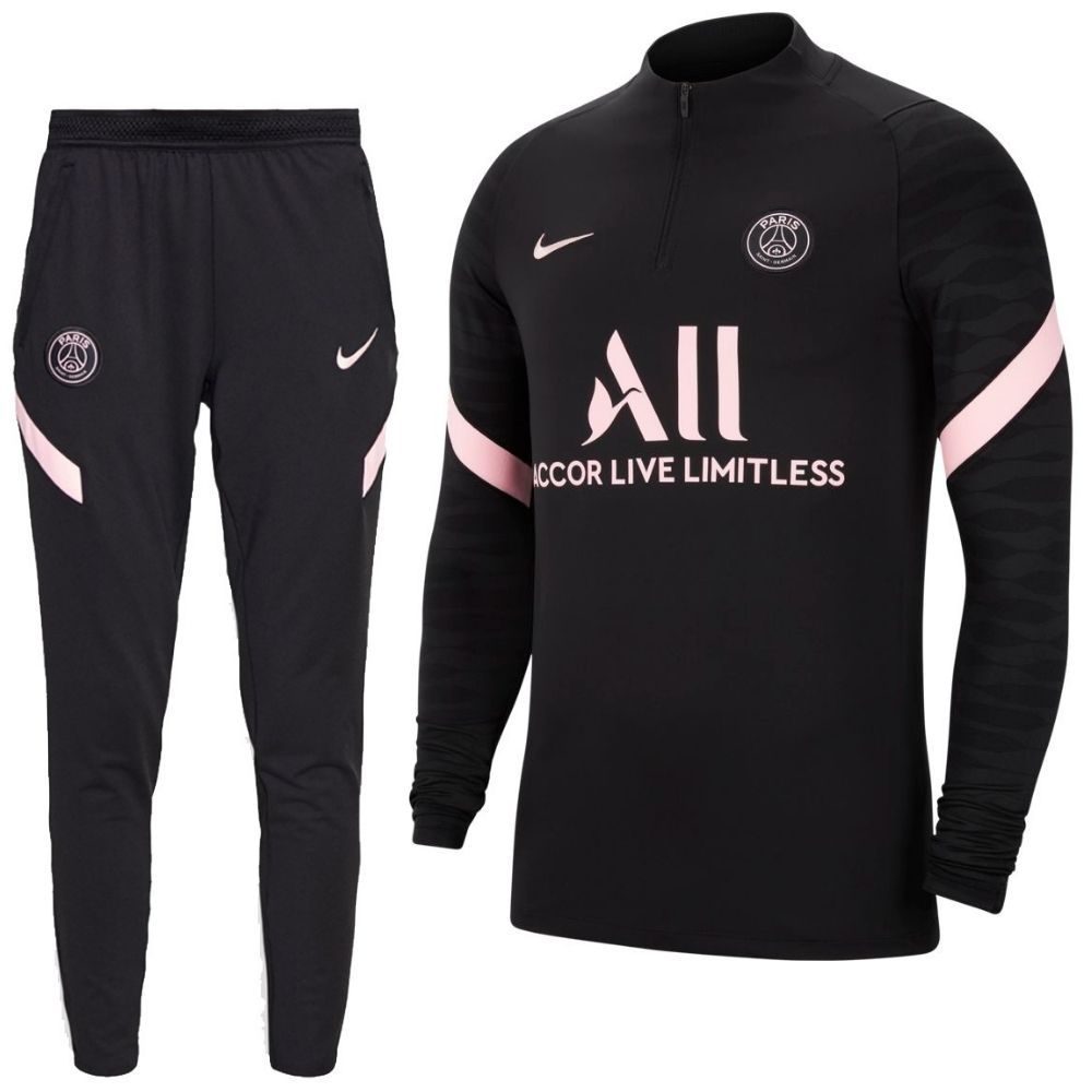 Nike Paris Saint Germain Strike Drill Trainingspak 2021-2022 Kids Zwart Roze