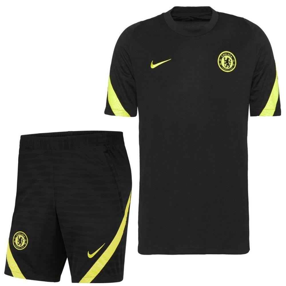 Nike Chelsea Strike Trainingsset 2021-2022 Zwart Geel