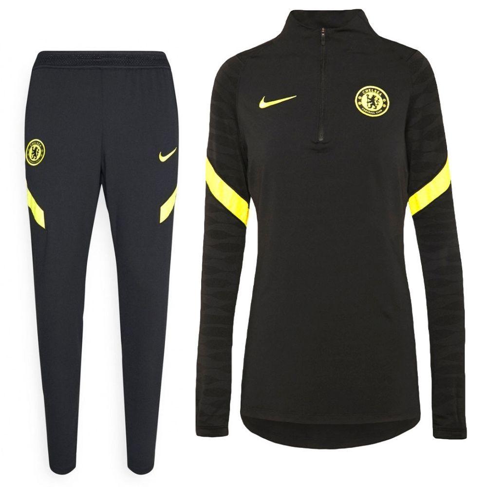 Nike Chelsea Strike Drill Trainingspak 2021-2022 Dames Zwart Geel