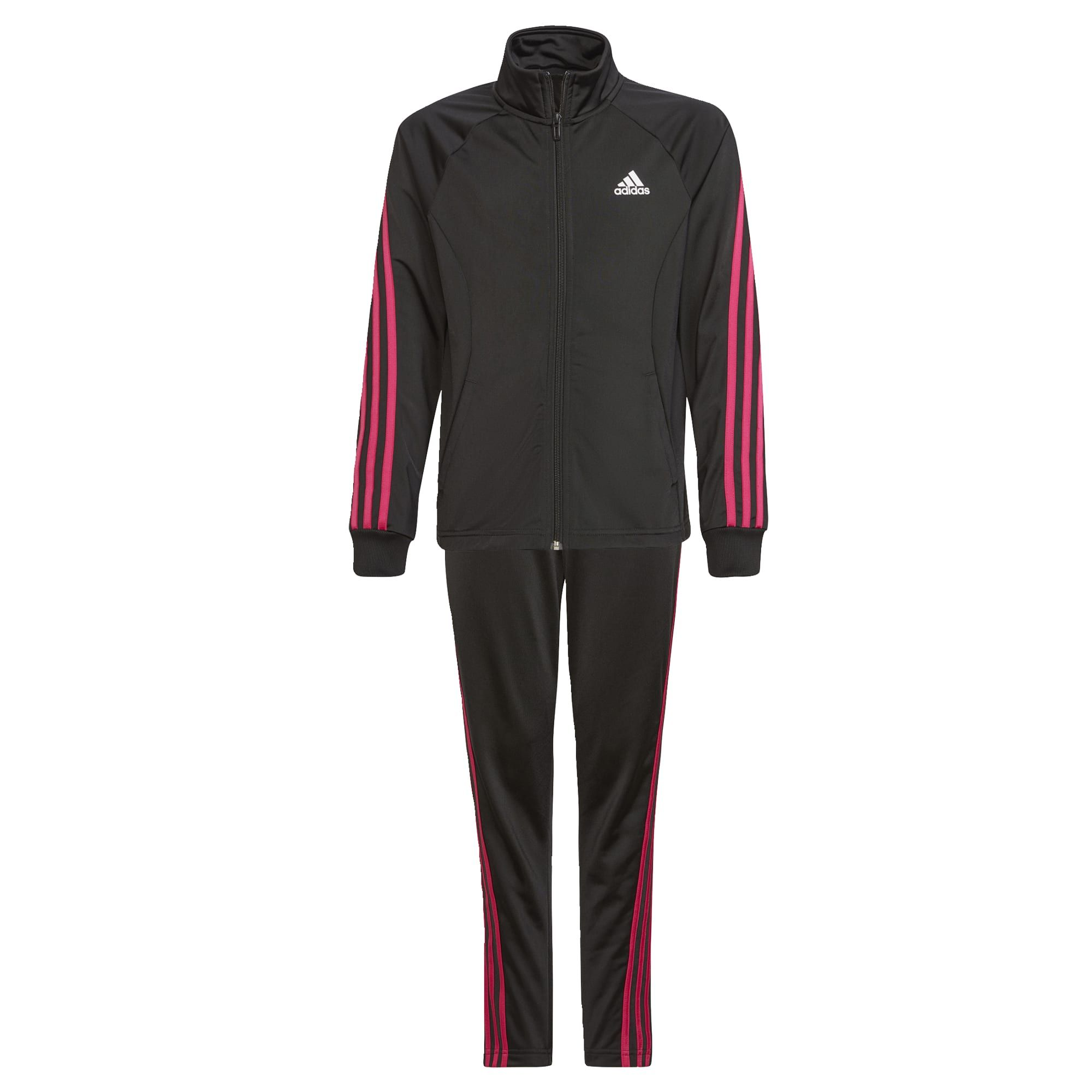 adidas Team Polyester Regular 3-Stripes Trainingsjack Kids Zwart Roze
