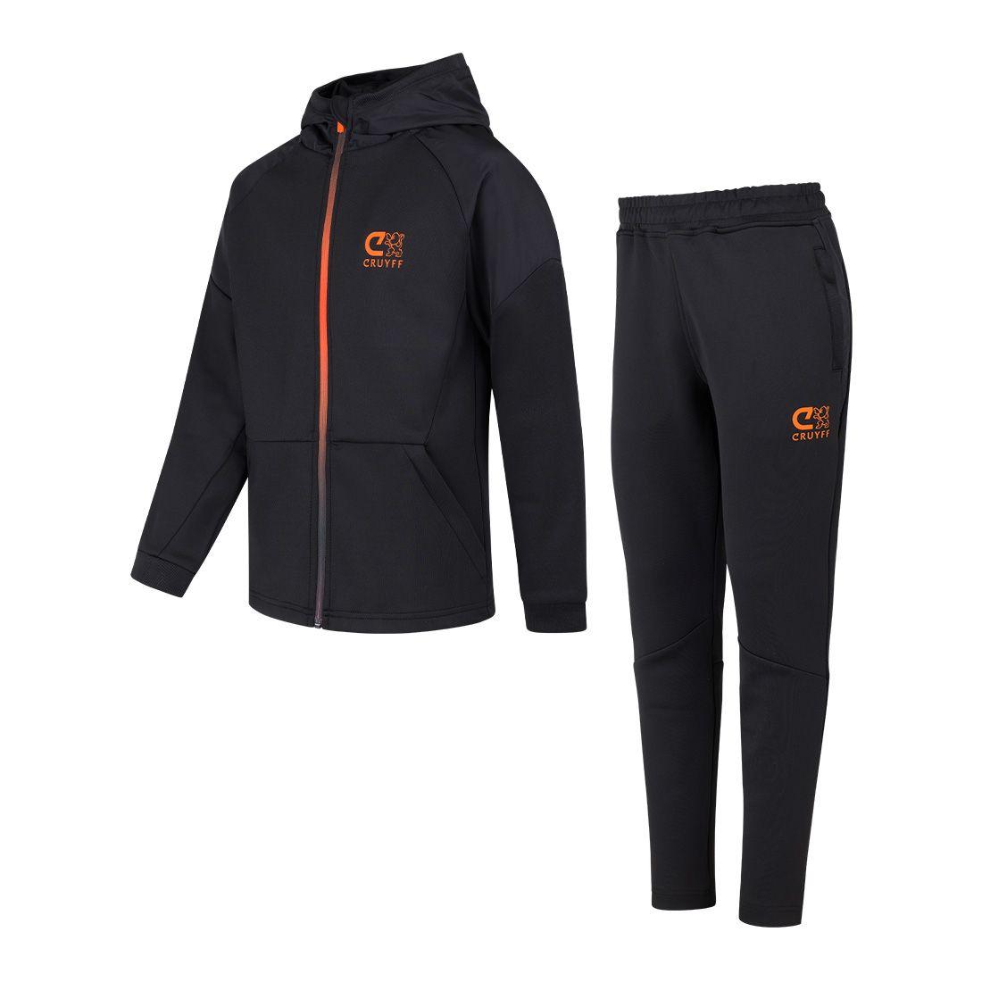 Cruyff Pointer Trainingspak Kids Zwart Oranje