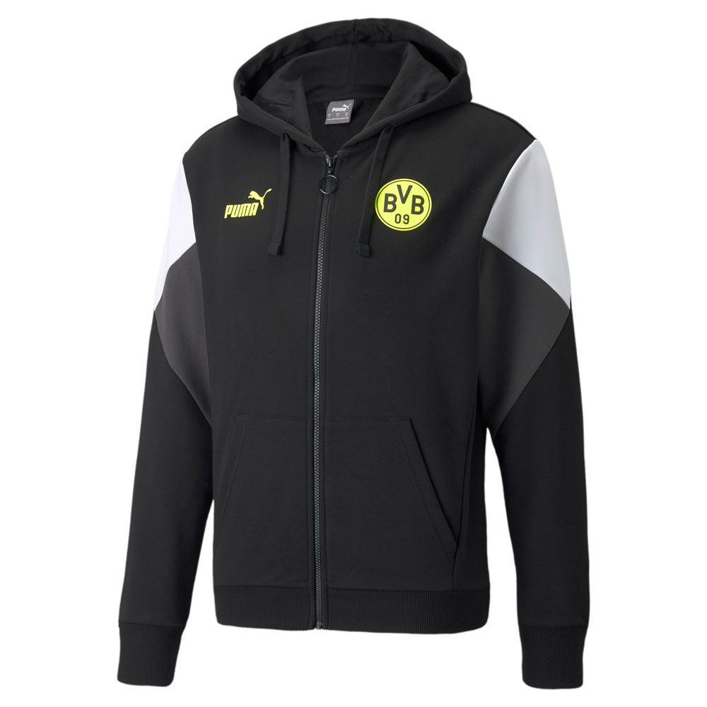 PUMA Borussia Dortmund FtblCulture Full Zip Hoodie 2021-2022 Zwart Geel