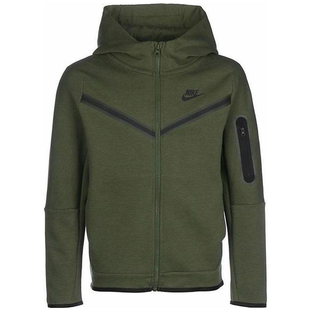 Nike Tech Fleece Hoodie Full-Zip Kids Groen Zwart