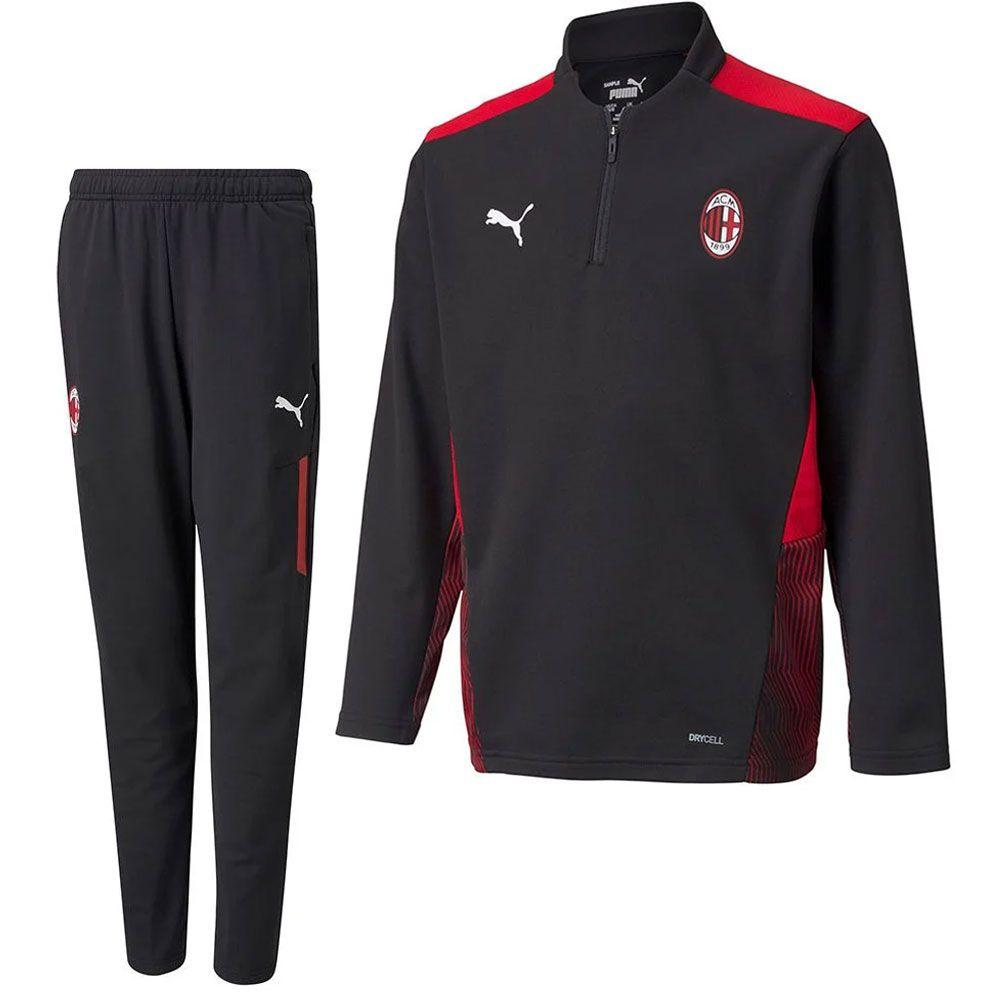 PUMA AC Milan 1/4 Zip Trainingspak 2021-2022 Kids Zwart Rood