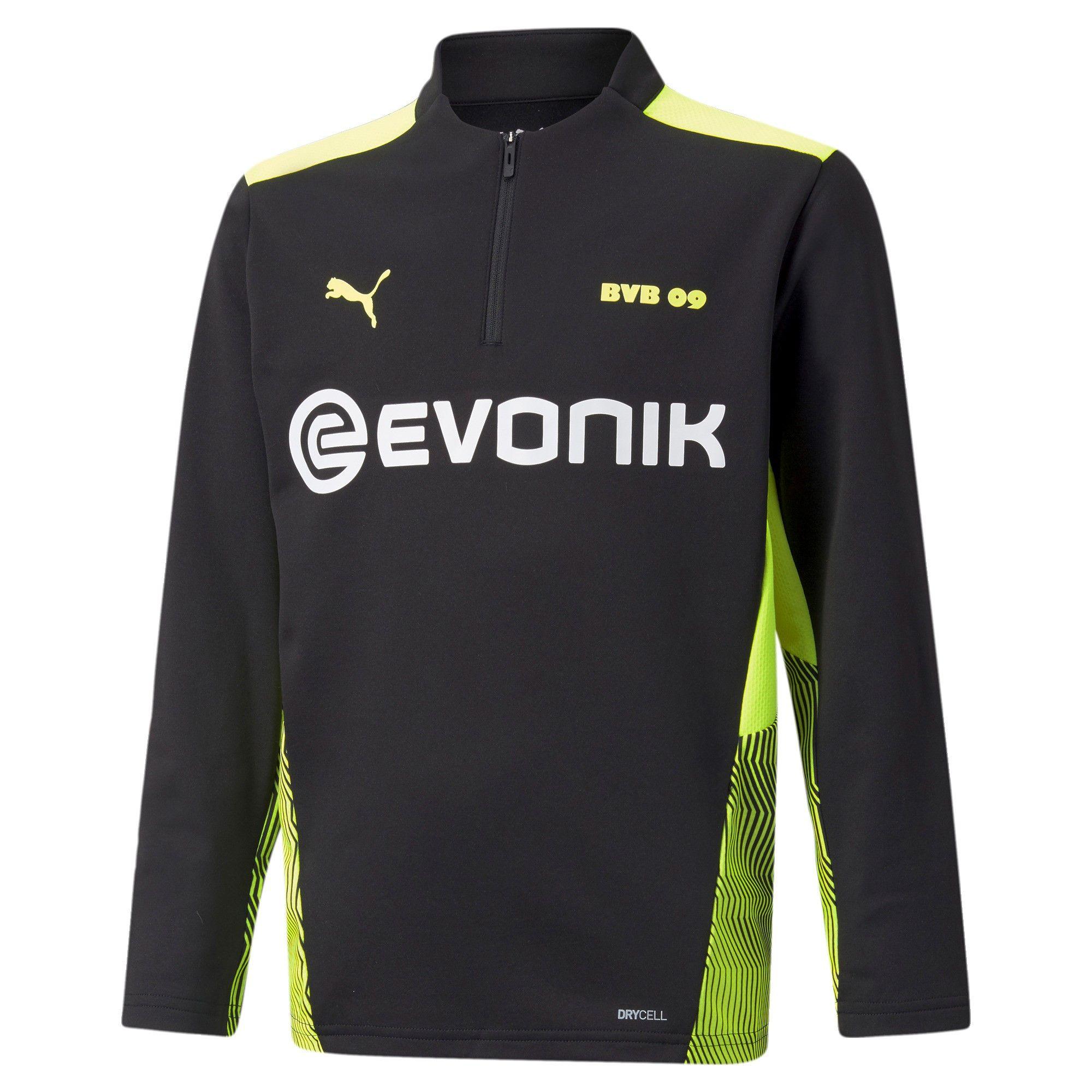 PUMA Borussia Dortmund 1/4 Zip Trainingstrui 2021-2022 Kids Zwart Geel