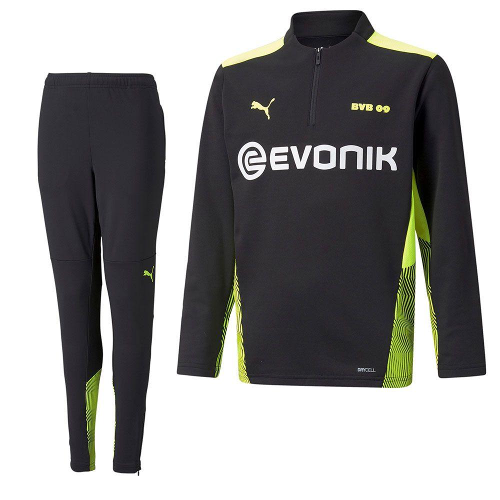 PUMA Borussia Dortmund 1/4 Zip Trainingspak 2021-2022 Kids Zwart Geel