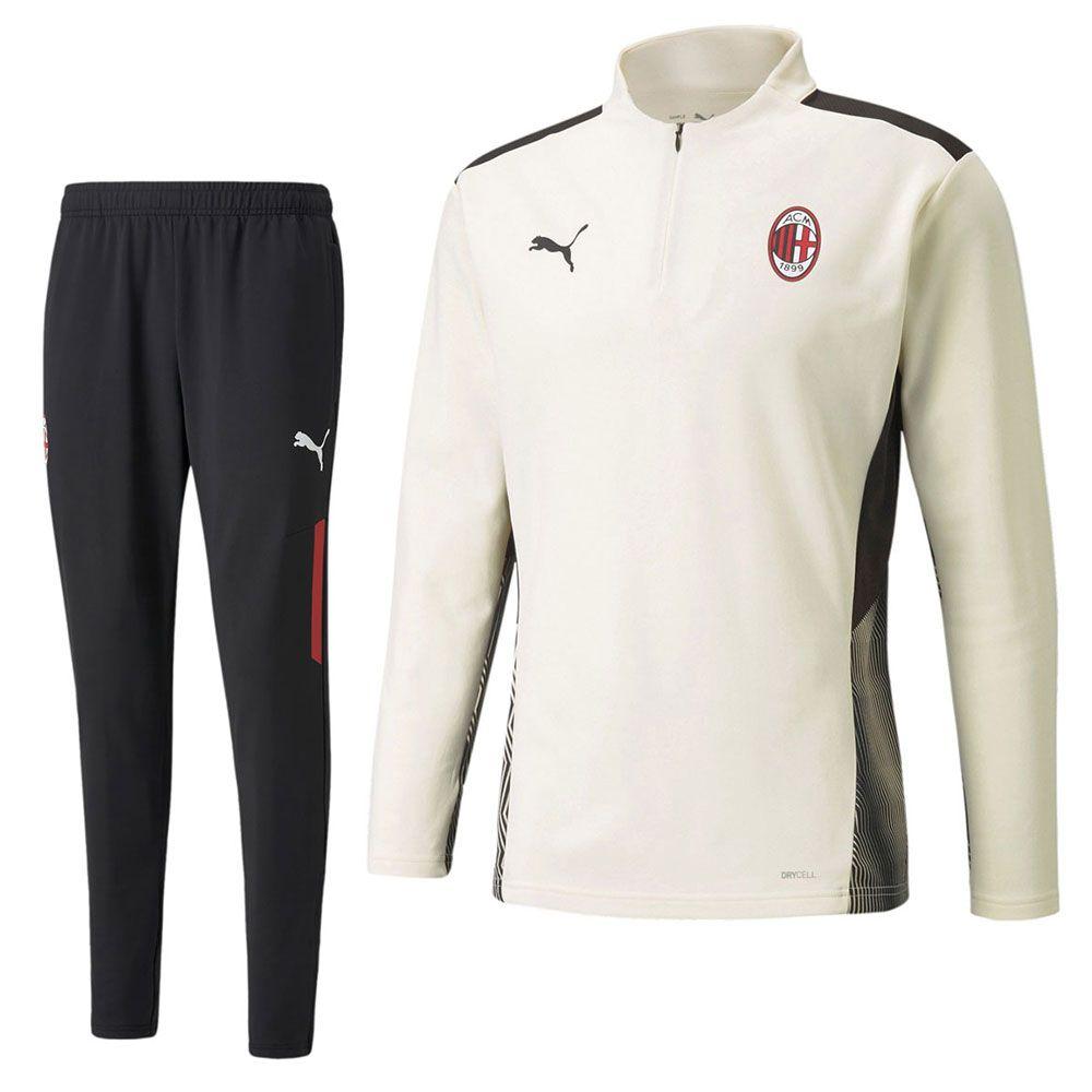 PUMA AC Milan 1/4 Zip Trainingspak 2021-2022 Crème Zwart