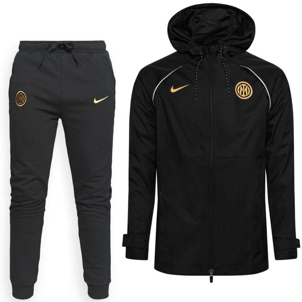 Nike Inter Milan Full Zip Trainingspak All Weather Fleece 2021-2022 Zwart Goud