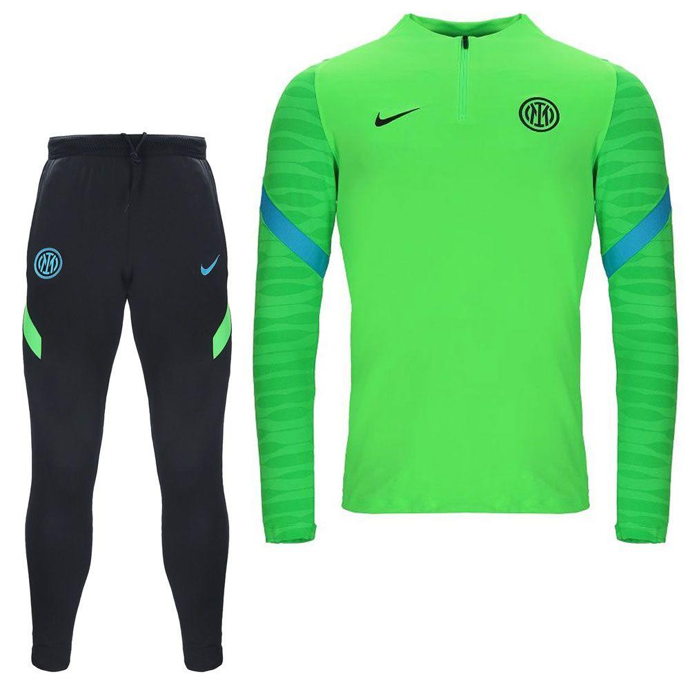 Nike Inter Milan Strike Drill Trainingspak 2021-2022 Kids Zwart Groen