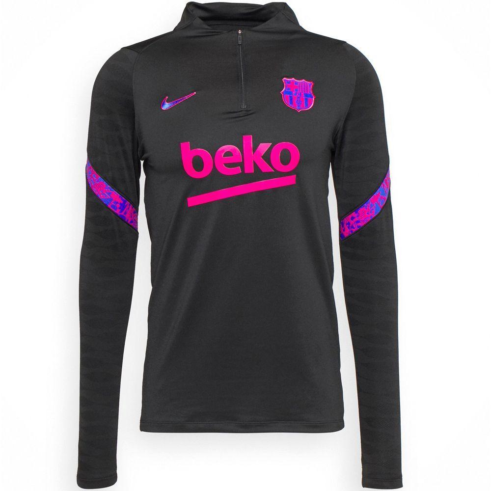 Nike FC Barcelona Strike Drill Trainingstrui 2021-2022 Zwart Roze Blauw