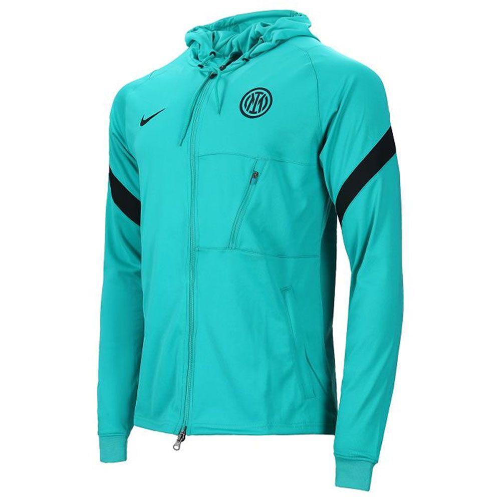 Nike Inter Milan Strike Hooded Trainingsjack 2021-2022 Turquoise Zwart