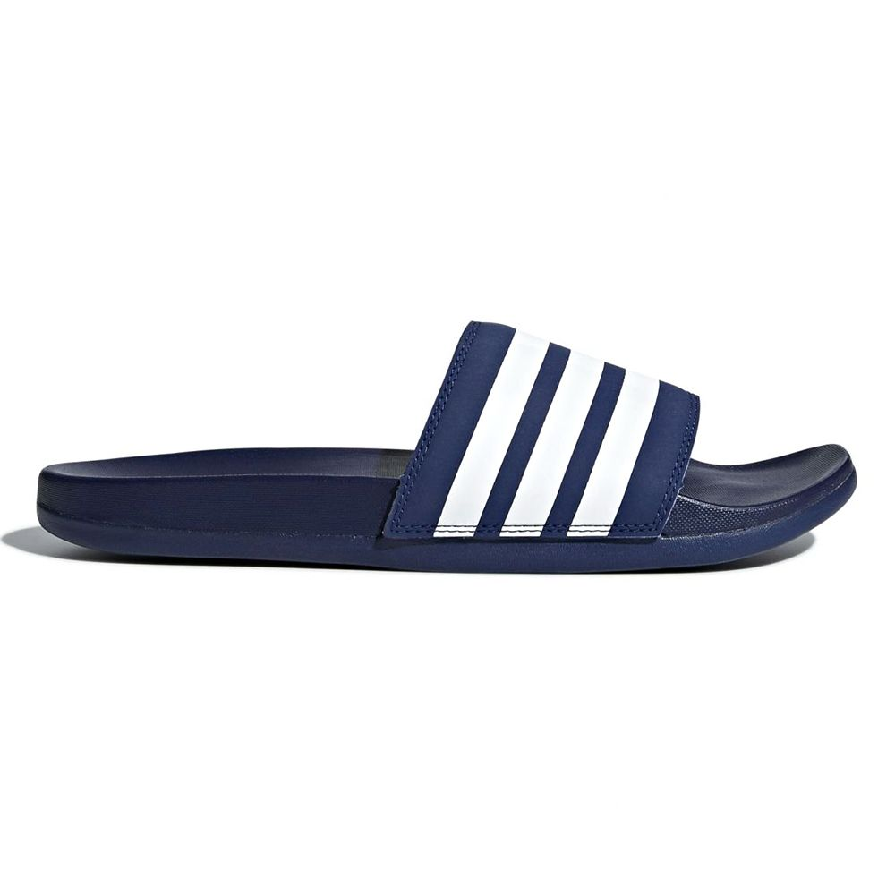 adidas Adilette Cloudfoam Plus Stripes Badslippers Donkerblauw Wit