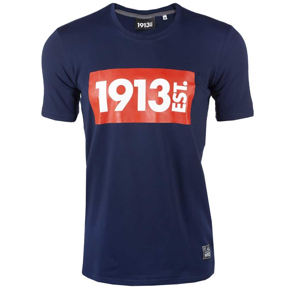 1913 T-shirt d.blauw Block rood-wit