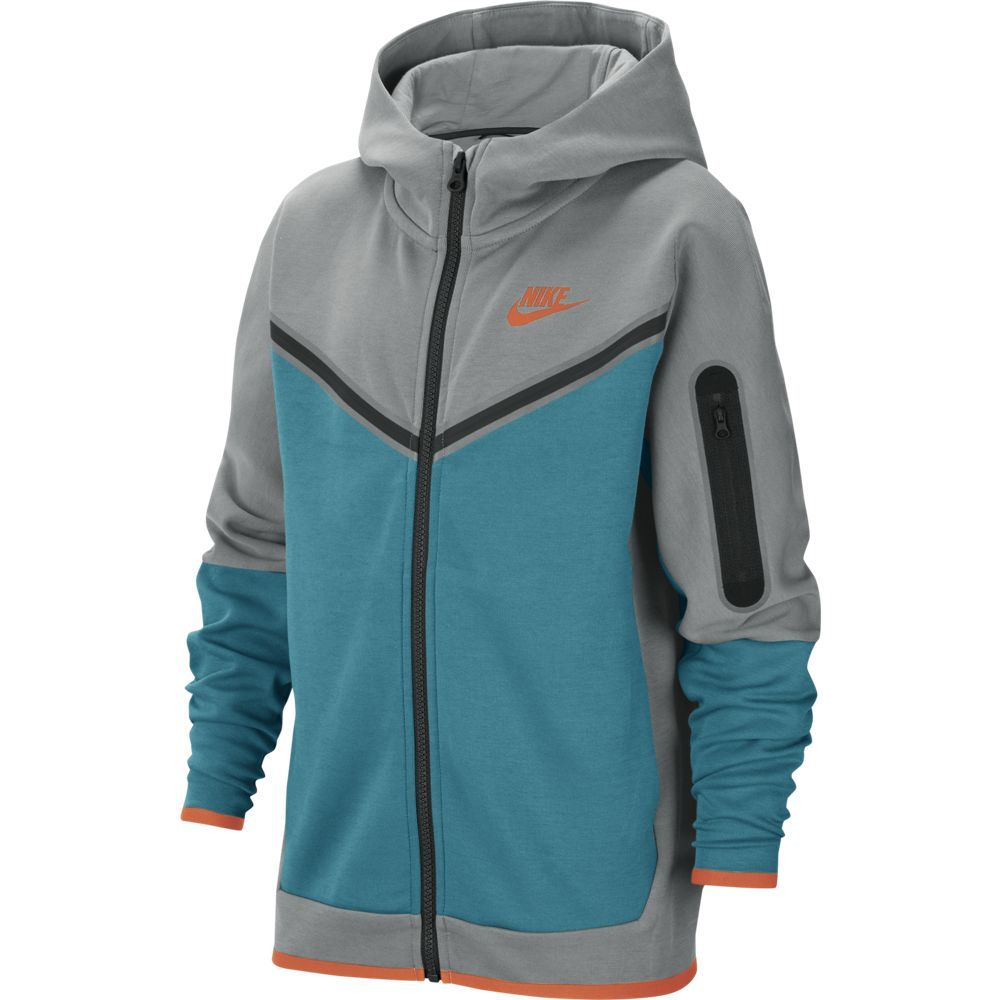 Nike Tech Fleece Full-Zip Hoodie Kids Grijs Turquoise Oranje