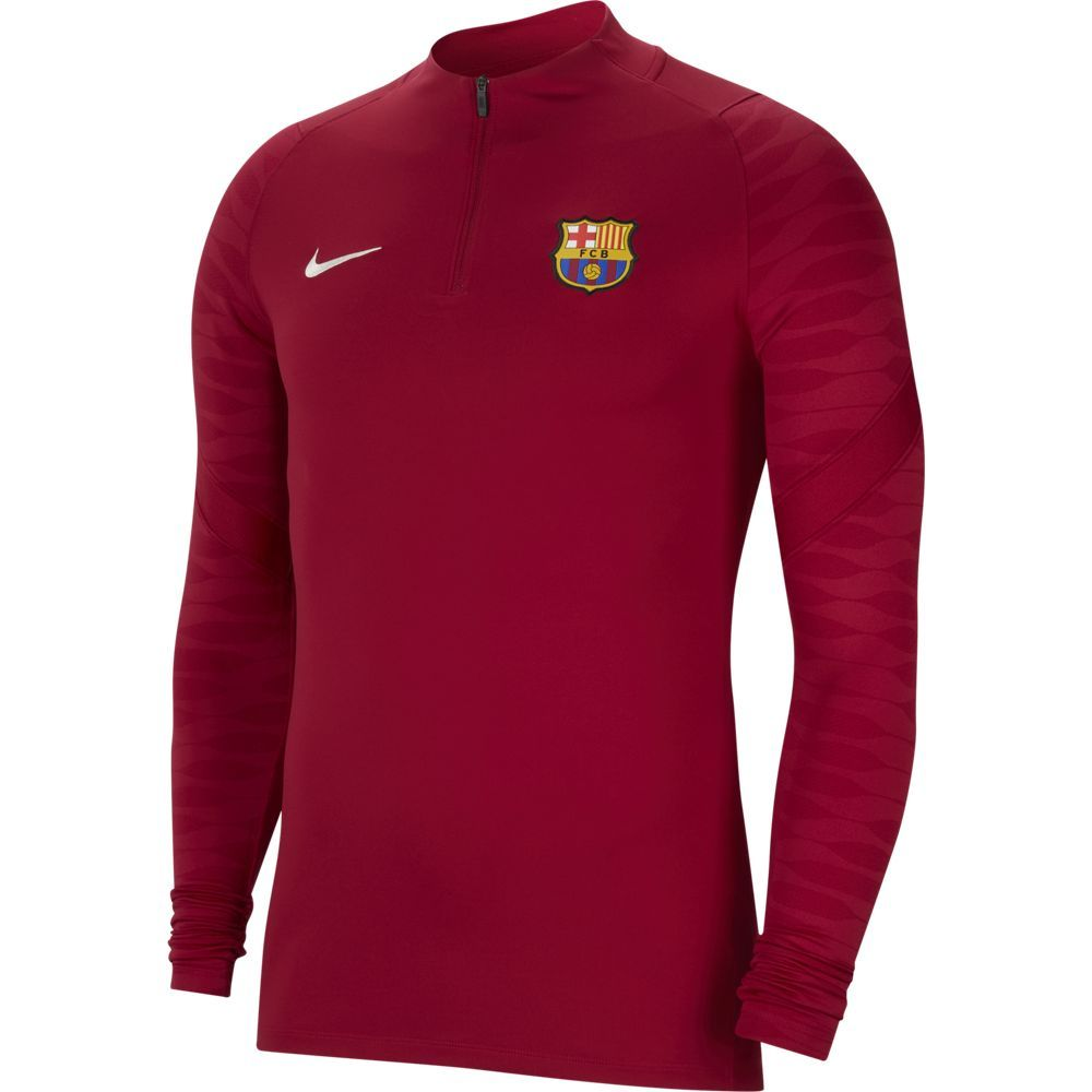 Nike FC Barcelona Strike Drill Trainingstrui 2021-2022 Bordeaxrood Lichtgrijs