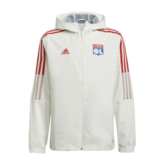 adidas Olympique Lyon Presentatie Trainingsjack 2021-2022 Kids Wit Blauw Rood