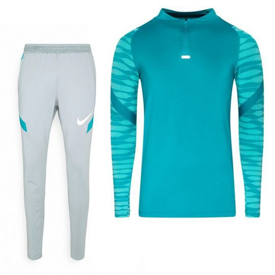 Nike Strike 21 Drill Trainingspak Turquoise Lichtgrijs